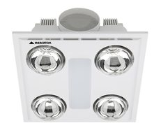 Cosmo Quattro 12W LED Bathroom 3-in-1 Exhaust Fan/Light/Heater White - BH014ESWWH