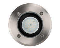 Metro 5 Watt 12V LED In-Ground Upligher Round 316 Stainless Steel / Warm White - HV1801W