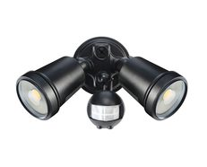 Hunter-III 22W LED Twin Spotlight With Sensor Black / Cool White - 19245/06