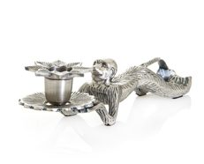 Monkey Lying Down Candleholder - Antique Silver