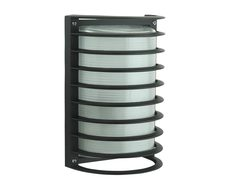 AL-2801 Cylindrical 240V Bunker with Grille - Black Finish / 1 x E27
