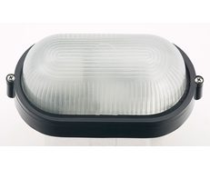 Carlton Black Small Oval Plain 8W LED Bunker - EXLED7100PB