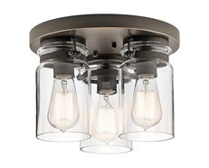 Brinley 3 Light Flush Mount Olde Bronze - KL/BRINLEY/F OZ