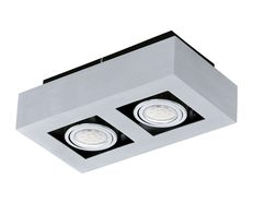 Loke 1 Twin 10W LED Surface Mounted Downlight Brushed Aluminium-Chrome / Neutral White - 200688