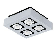Loke 1 Quad 20W LED Surface Mounted Downlight Brushed Aluminium-Chrome / Neutral White - 200691