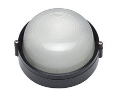 Carlton Black Small Round Plain 8W LED Bunker - EXLED6100PB