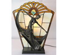 Leadlight Art Deco Lamp Amber (TL-866/1402A)