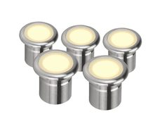 Vivid 3 Watt 12V Five Pack LED Deck Light Stainless Steel / Warm White - 21101