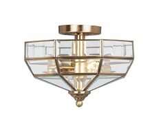 Old Park 2 Light Semi Flush Antique Brass - OLD PARK AB