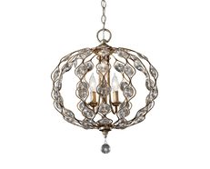 Leila 3 Light Chandelier Burnished Silver - FE/LEILA3