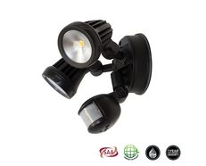 Fortress Matt Black 2 x 13W LED Double Spot Light With Sensor Cool White - MLXF502MS