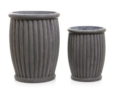 Round Pot Set of 2 Fibreclay Grey