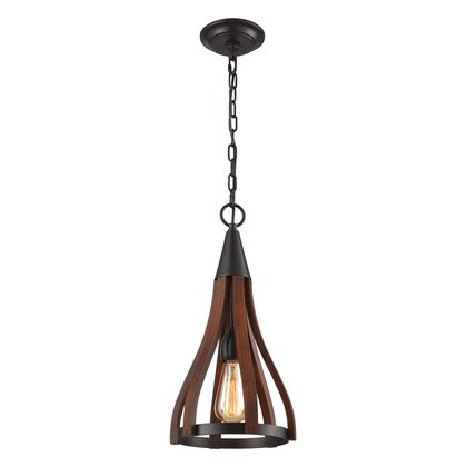 Modern Timber 1 Light Pendant Dark Red - Khaleesi1