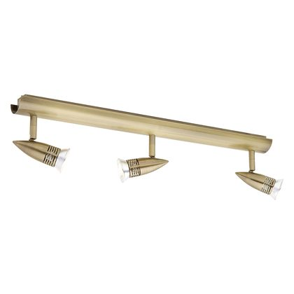 Proton 3 Light Antique Brass Rail - 12V LED 3000K